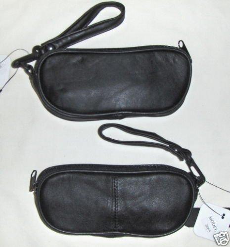 Genuine Leather Soft Single Eyeglass Case - BLACK