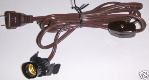 Electric 6 ft cord candelabra base w/wheel switch BROWN