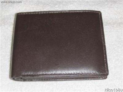 Genuine Leather Men's Bifold Wallet- #82 BROWN