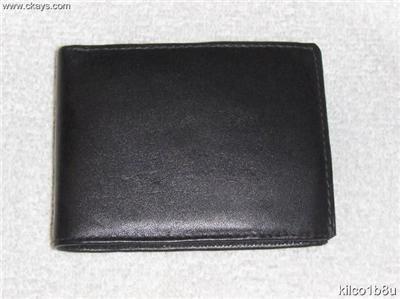 Genuine Leather Men's Bifold Wallet- #82 BLACK