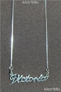Sterling Silver Name Necklace - Name Plate - VICTORIA