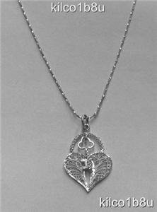 Sterling Silver Filigree Heart with Key Necklace