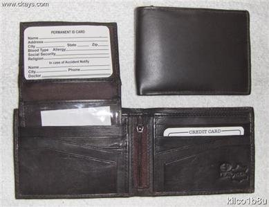 Genuine Leather Men's Bifold Wallet- #533 BROWN