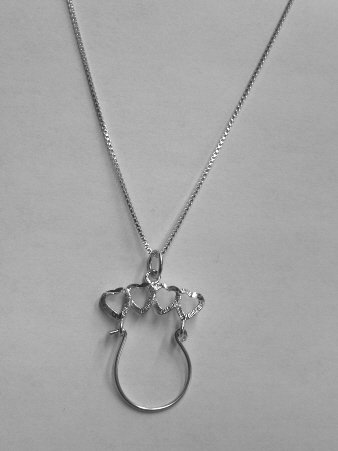 Sterling Silver Charmholder Necklace - 4 HEARTS MEDIUM