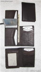 Genuine Leather Men's Tall Bifold Wallet- #139 BROWN