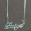 Sterling Silver Name Necklace - Name Plate - PAIGE