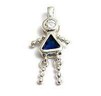 Sterling & CZ Birthstone Kids GIRL Charm DECEMBER