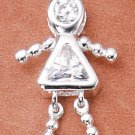 Sterling & CZ Birthstone Kids GIRL Charm APRIL