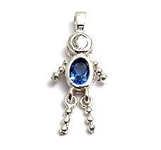Sterling & CZ Birthstone Kids BOY Charm DECEMBER