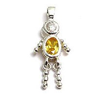 Sterling & CZ Birthstone Kids BOY Charm NOVEMBER
