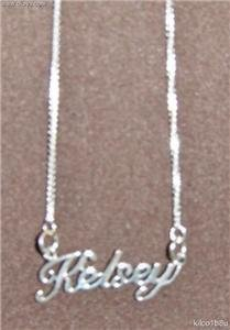 Sterling Silver Name Necklace - Name Plate - KELSEY