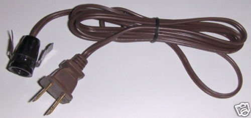Snap in electric 6 ft cord candelabra base  BROWN