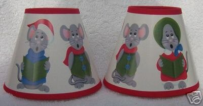 3 CAROLING MICE Mini Paper Chandelier Lamp Shade