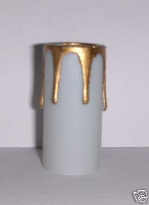 "2"" White w/Gold Drips Plastic Chandelier Socket Cover"