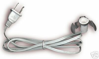 Snap in electric 6 ft cord candelabra base  WHITE