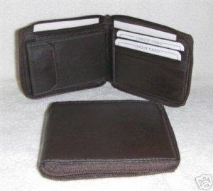Genuine Leather Men's Zip Around Bifold Wallet- #56 BROWN