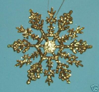 "10 piece GOLD 4"" Glittered Plastic Snowflake Ornaments"
