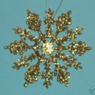 "10 piece GOLD 4"" Glittered Plastic Snowflake Ornaments"