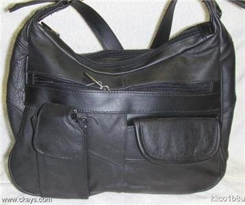 Genuine Leather Shoulder Bag, Purse, Handbag #96 -BLACK