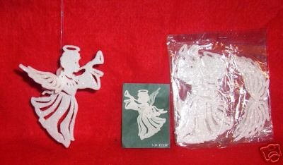 4 sets WHITE Glittered 3-D Plastic ANGEL Ornaments