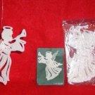 4 sets WHITE Glittered 3-D Plastic ANGEL Ornaments