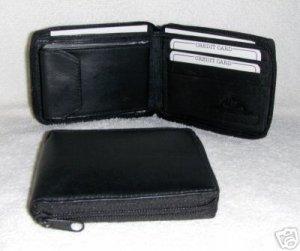 Genuine Leather Men's Zip Around Bifold Wallet- #56 BLACK