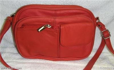 Genuine Leather Shoulder Bag, Purse, Handbag 3013 - RED