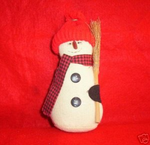 Muslin Snowman with Straw Broom
