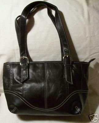 Genuine Leather Shoulder Bag/Handbag #95 BLACK