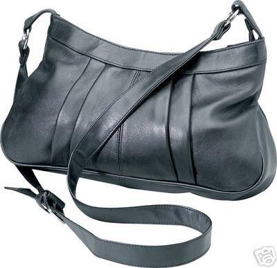 Genuine Leather Shoulder Bag/Handbag #59 BLACK