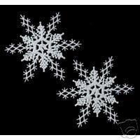 """2 pc  PEARLIZED 11"""" Glitter Plastic Snowflake Ornaments"""
