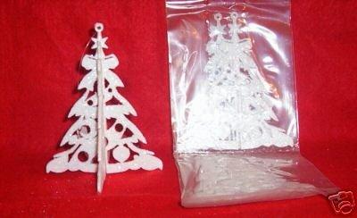 3 sets Glittered 3-D Plastic WHITE TREE Ornaments