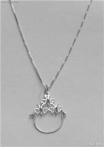 Sterling Silver Charmholder Necklace-Hearts/Butterflies