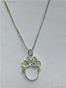 Sterling Silver Charmholder Necklace-2 Hearts