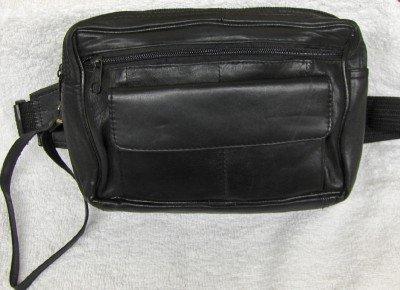 Genuine Lambskin Leather Fanny Pack - #119- BLACK