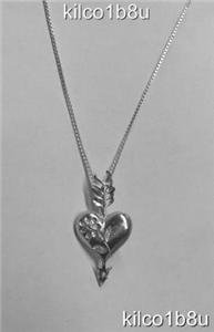 Sterling Silver Diamond Cut Heart with Arrow Necklace