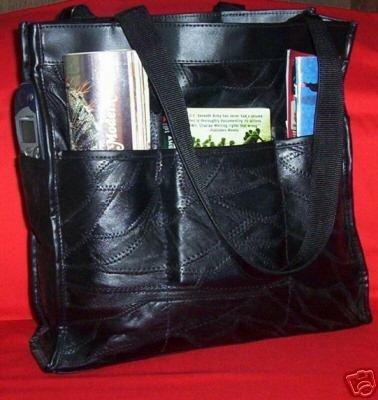 Genuine Leather Travel-Shopping-Handbag #LUVSHOP- BLACK
