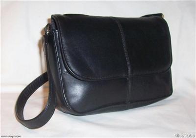 Genuine Leather Shoulder Bag/Handbag #24 BLACK