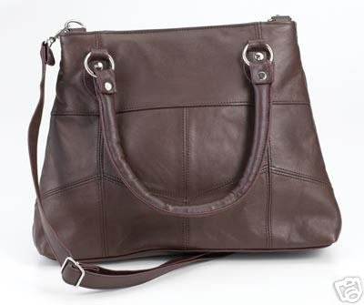 Genuine Leather Shoulder Bag/Handbag LUPR118 -BROWN