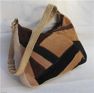 Genuine Leather Shoulder Bag/Handbag Patchwork Suede