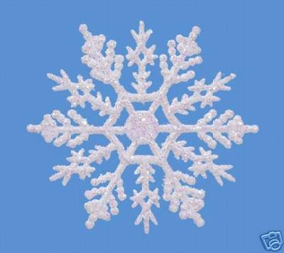 """10 pc. PEARLIZED 4"""" Glitter Plastic Snowflake Ornaments"""