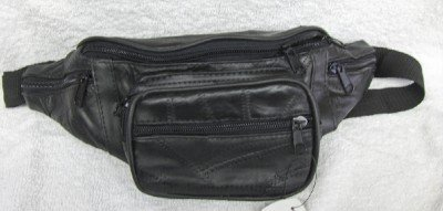 Genuine Patchwork Leather Fanny Pack - #7078 -BLACK