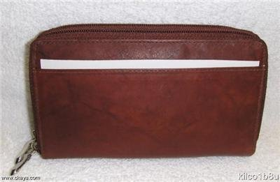 New Ladies Leather Clutch-Checkbook Wallet-BURGUNDY