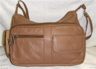 Genuine Leather Shoulder Bag,Purse,Handbag 3001Lt.Brown