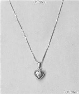 Sterling Silver 14mm Puffed Heart Necklace