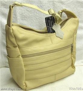 Genuine Leather Shoulder Bag, Purse, Handbag - TAN #3003