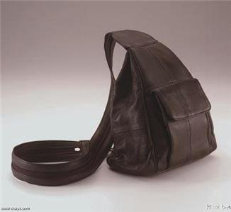 Genuine Leather Hobo Sling-Backpack Purse #17 - BLACK