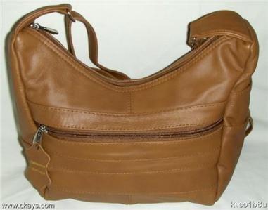 Genuine Leather Shoulder Bag / Handbag - #3003 LT BROWN