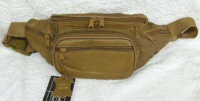 Genuine Lambskin Leather Fanny Pack - #3078 BROWN