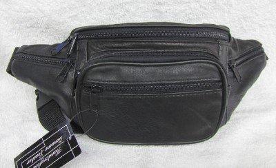 Genuine Lambskin Leather Fanny Pack - #3078 BLACK